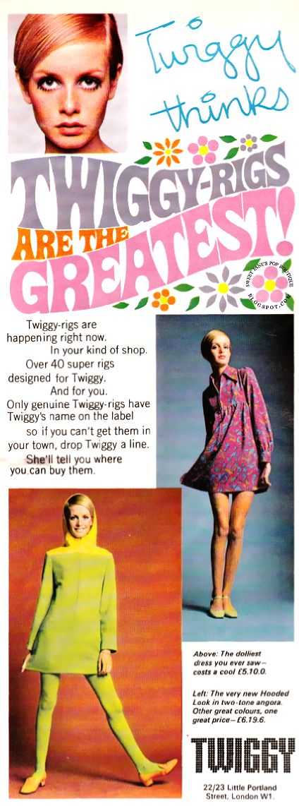 SWEET JANE: Twiggy-Rigs are the Greatest! 1967 vintage fashion, retro fashion ads, Twiggy model, 1960s London, Swinging Sixties,