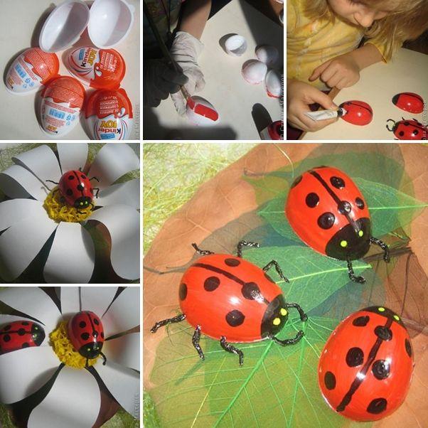 Make These Creative Ladybugs From Kinder Surprise Eggs - http://www.amazinginteriordesign.com/make-creative-ladybugs-kinder-surprise-eggs/