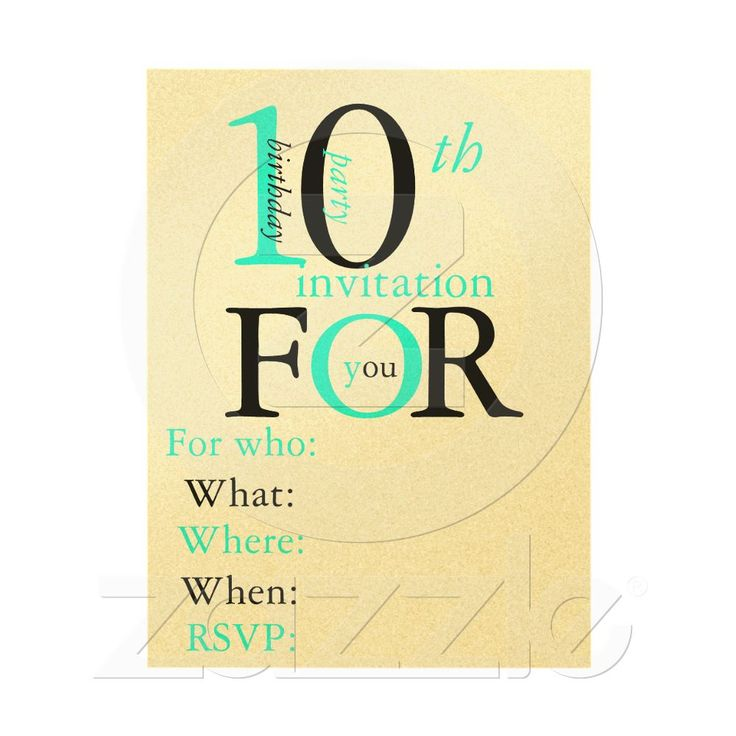 17 Best images about Party Ideas – 10 Year Old Birthday Invitations