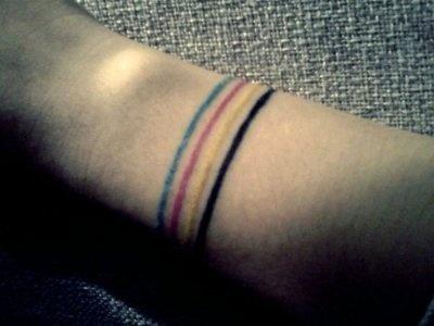 colored linesTattoo Ideas, Wrist Tattoo, Tattoo Pattern, Bracelets Tattoo, Band Tattoo, Tattoo Design, Cmyk Tattoo, Design Tattoo, Line Tattoo
