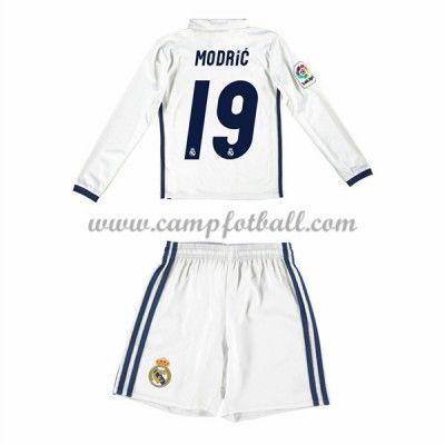 Fotballdrakter Barn Real Madrid 2016-17 Modric 19 Hjemme Draktsett Langermet