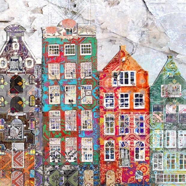 """Janet Curley Cannon\"""" Dutch Squats II"""" 2012 Artwork image size 30 x 70 cm £200.00 A playful look at Amsterdam combining the typical canal row houses overlaid with traditional dutch tiles from the interior of a building being renovated. The work combines photomontage, digital collage and digital drawing."""