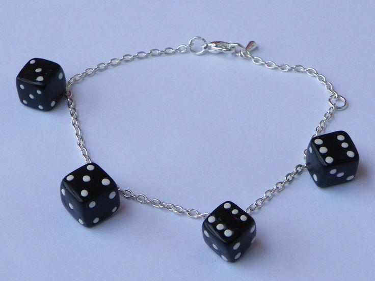 Bracelet dés noir en fimo : Bracelet par jl-bijoux-creation