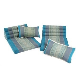 Thai Cushion Set: 2 Triangular Seats + 2 Small Cushions, Traditional Thai Design, Kapok-filled, Light Blues.