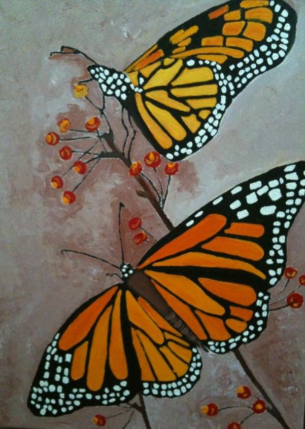 Two butterfly, acrylic painting | My paintings | Pinterest ...