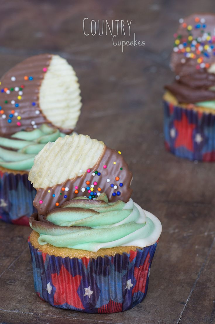 Country Cupcakes featuring a from-scratch Funfetti base infused with Pabst Blue Ribbon beer, chocolate-vanilla camouflage frosting, and sweet-meets-savory chocolate-dipped potato chips studded with sprinkles– all wrapped up in an all-American cupcake liner #beercupcakes