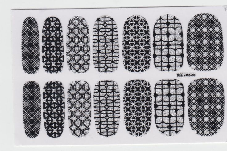 Nail Wraps Sticker Art Decals Adhesive - Set of 14 pcs 7 Style Shiny Pattern