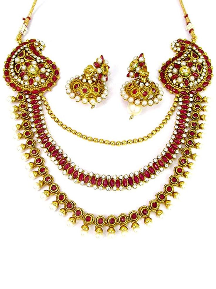 Classic Three Line #designer #Necklace set with #earrings. Item Code: JPD86924 http://www.bharatplaza.com/new-arrivals/jewellery.html