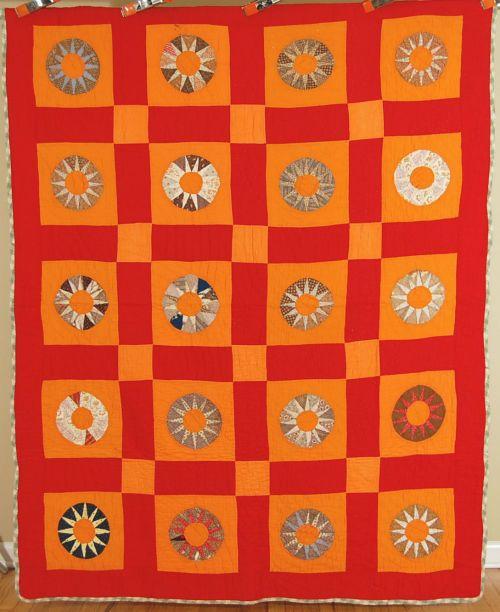 VIBRANT Vintage 1880's Turkey Red & Cheddar Orange Blazing Sun Antique Quilt!