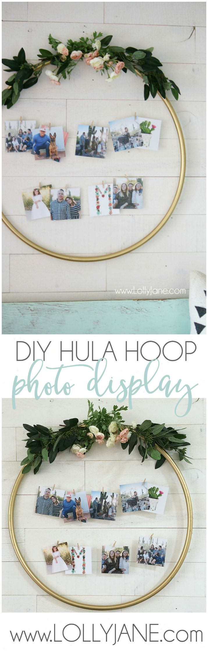DIY Hula Hoop Photo Display | Check out this easy hula hoop photo display idea! Such a creative way to display pictures with unique items!