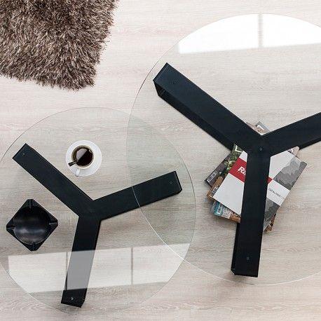 Este Juego de Mesas de centro redonda minimalista, presenta un aire sofisticado a tu sala, el diseño esta elaborado de vidrio blanco y base metálica que le permite resistir el paso del tiempo.