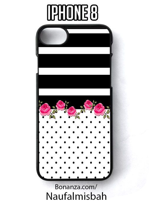 Pink Rose Black White Stripes iPhone 8 Case Cover - Cases, Covers & Skins