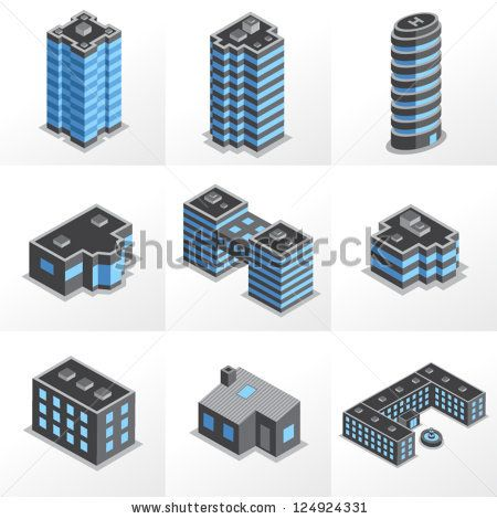 Set isometric building icons - stock vector