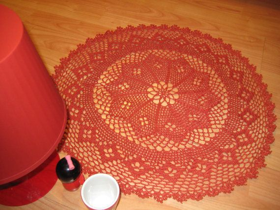 Doily Variations Crocheted Cotton Red Tomato by MinnieCreation, €23.28