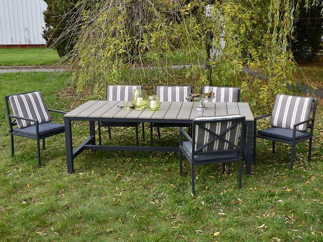 Nowoczesny stół ogrodowy wykonany z lekkiego aluminium oraz drewna polywood*. Zestawienie tych dwóch tworzyw daje mu elegancki i stonowany charakter.  http://meblefann.pl/product-pol-61-Stol-ogrodowy-CROSS.html