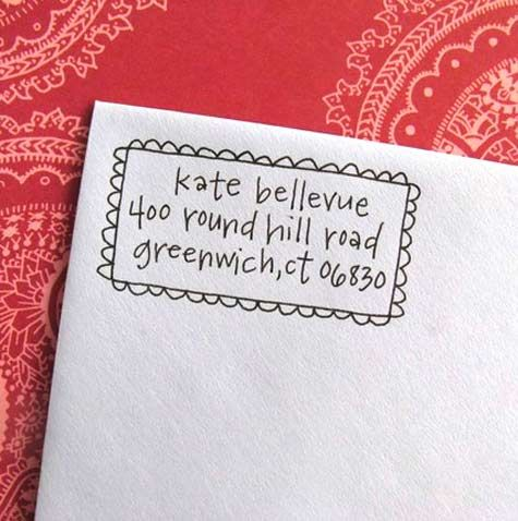 Letter-girl hand-lettered address stamp on Etsy
