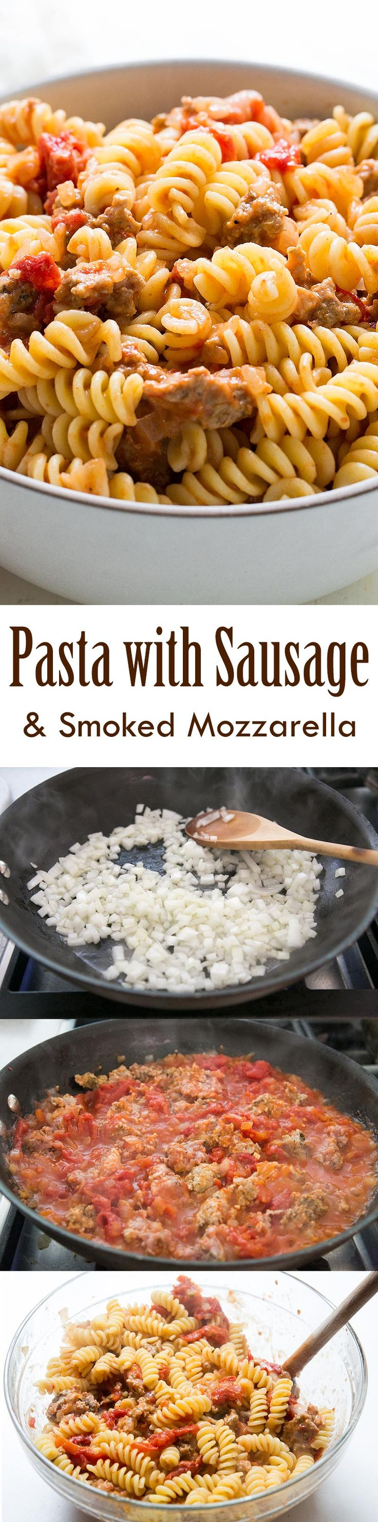 . Pasta with a tomato sauce with Italian turkey sausage and smoked ...