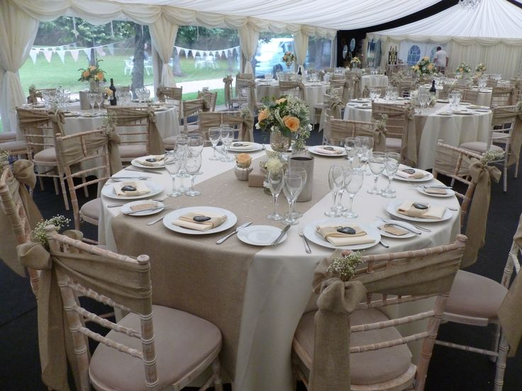 Burlap Sashes And Table Runners Dressed On Chiavari Chairs