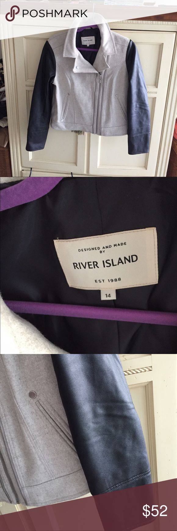 NWOT River island wool and PU leather jacket River island wool and PU leather jacket. Motorcycle style. New without tags. Size 14 but fits more like a 12. River Island Jackets & Coats