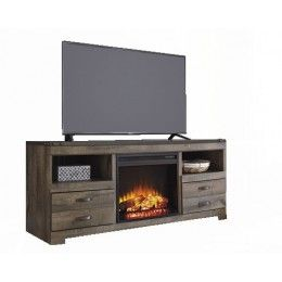 Trinell Large TV Stand with Fireplace