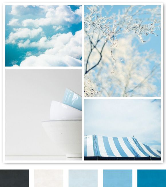 Master bedroom colors: bed headboard - beige, quilt - various shades of blue and white, accent wall - light blue, accent colors (pillows, etc) - slate