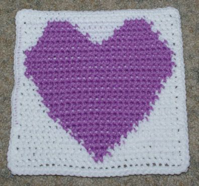 Row Count Heart Afghan Square Free Crochet Pattern