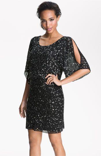 Pisarro Nights Split Sleeve Sequin Silk Chiffon Dress | Nordstrom