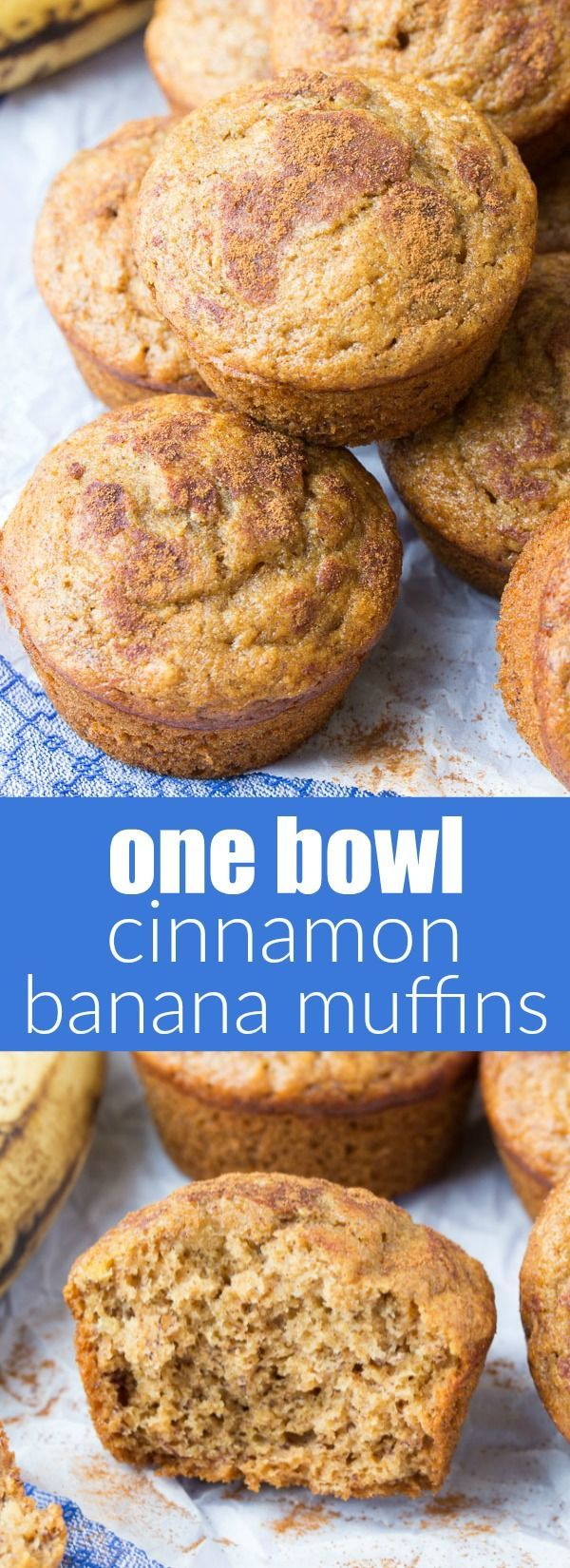 One Bowl Cinnamon Banana Bread Muffins! Fast and easy to make, freezer-friendly, perfect for food prep! Plus, they're whole wheat, refined sugar free and healthy! | http://www.kristineskitchenblog.com