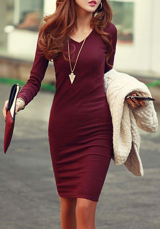 Wine Red Plain V-neck Long Sleeve Slim Elegant Midi Dress