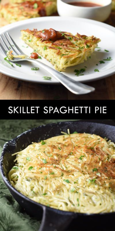 Spaghetti fried in a cast iron skillet with butter, eggs, cheese, and ...