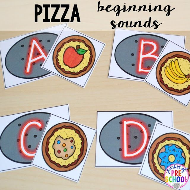 Beginning sound match with a silly pizza theme makes practicing beginning sound fun