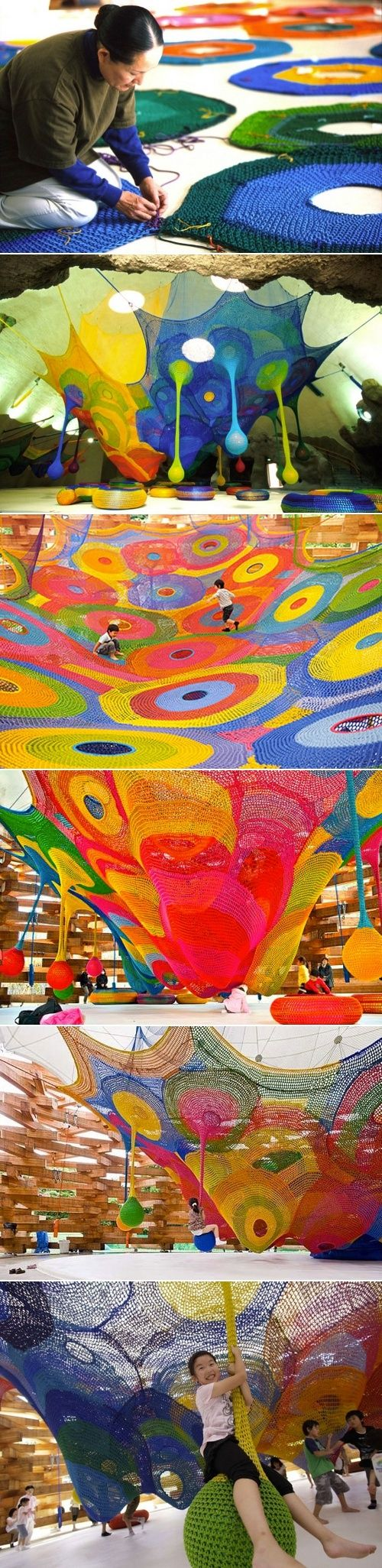 Toshiko Horiuchi-MacAdam, hand knitted play environments