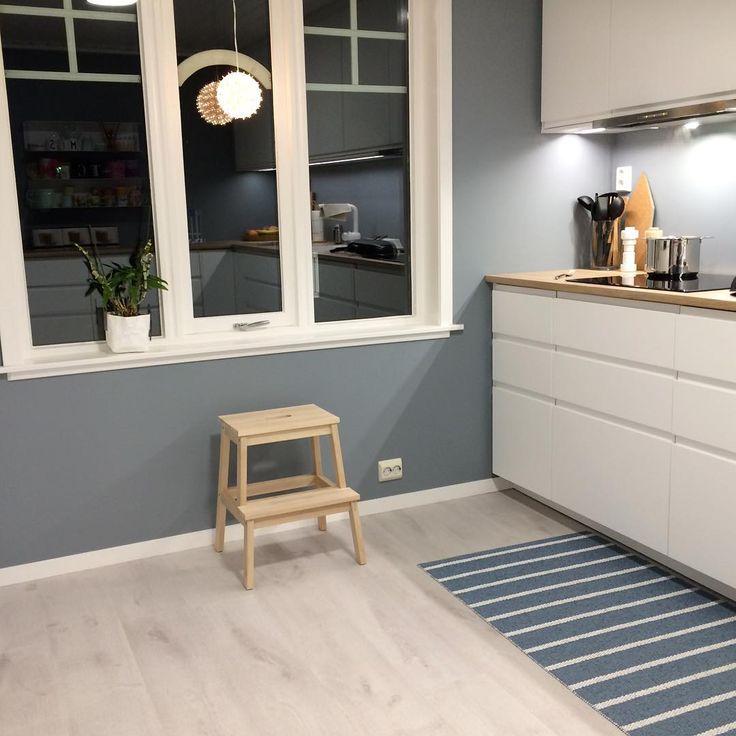Linblå jotun. Fargekode på kjøkkeninnredning