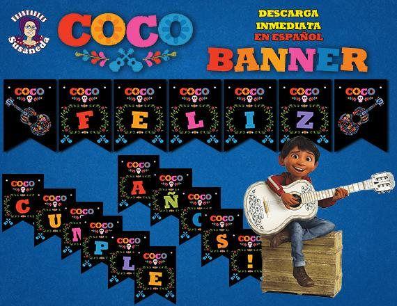 Banderines de feliz cumpleanos de coco