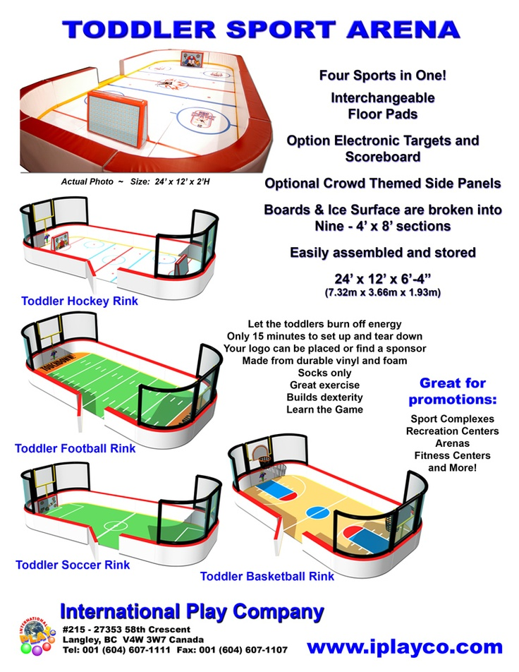 TODDLER SPORT ARENAS  Let the toddler's burn off energy. Only 15 minutes to set up and tear down. Your logo can be placed or find a sponsor. Made from durable vinyl and foam. Add to your soft indoor play business. Has interchangeable floor pads, optional electronic targets, score board and crowd themed side panels. The boards and surface are broken into sections easily assembled and stored. Arenas available are Hockey, Soccer, Basketball and Football.  www.iplayco.com