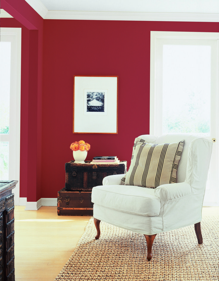 Cozy apartment design : Dunn Edwards Paints paint colors: Wall: Arabian Red DEA; Trim: White DEW Click for a free color sample #DunnEdwards The Color Pinterest Color?