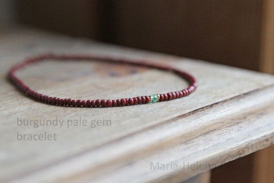burgundy pale gem bracelet for men I Maria-Helena Design