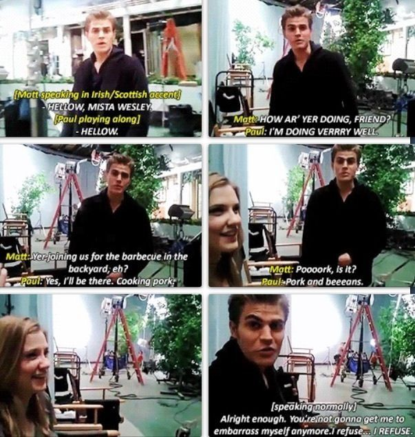 Lmao bloopers from season 2. Matt Davis, Paul Wesley and Sara Canning