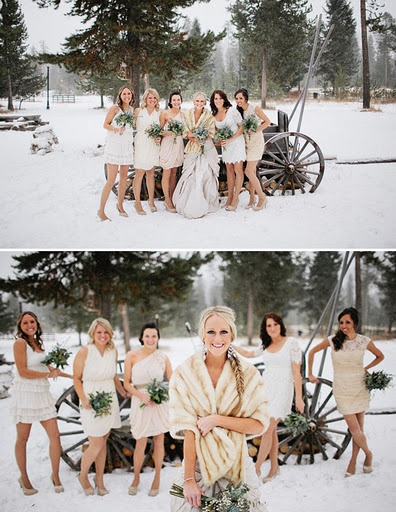 Snowy Wedding and a fur coat  winter wedding  #wedding