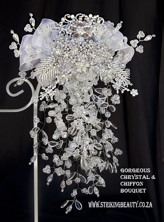 Chrystal brooch bouquet with chiffon and diamante jewellery.  Unique and very beautiful.