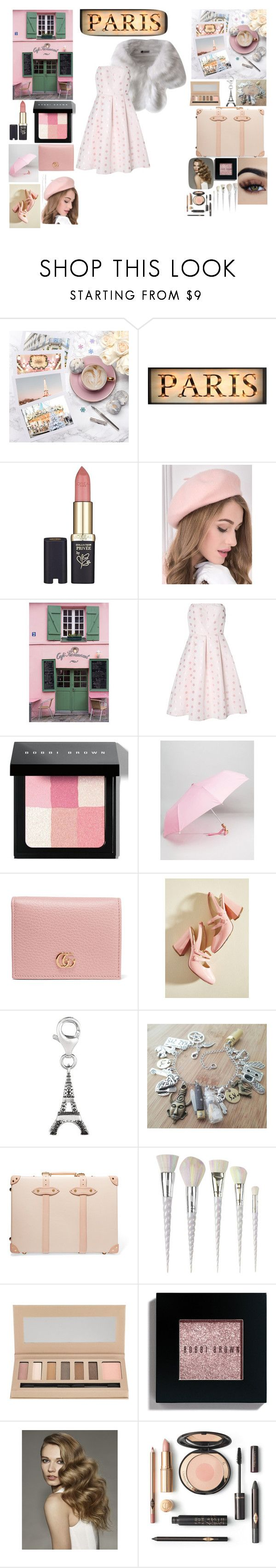 """Paris"" by melissagraham1407 ❤ liked on Polyvore featuring L'Oréal Paris, La Maison, True Decadence, Bobbi Brown Cosmetics, Original Duckhead, Gucci, Banned, Globe-Trotter, Unicorn Lashes and Barry M"