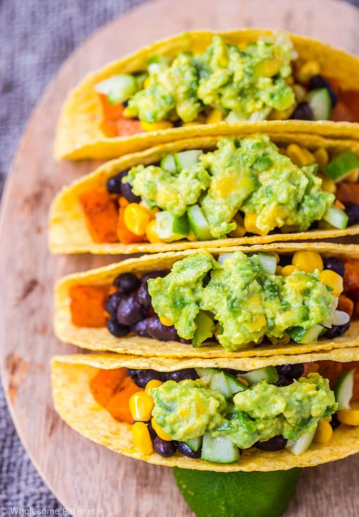 vegan spicy sweet potato & black bean tacos