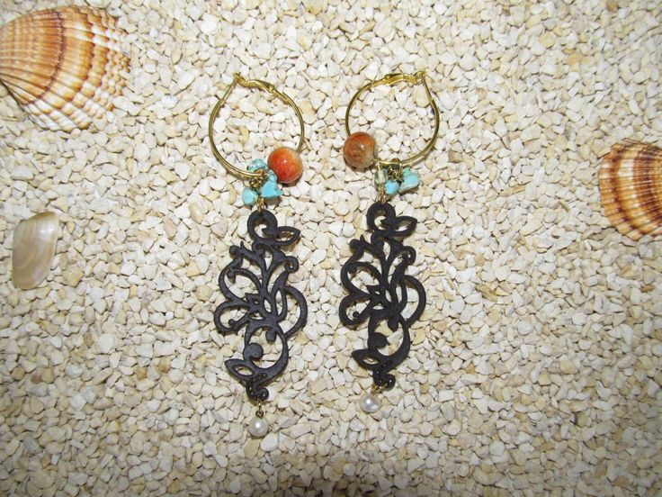 Handmade earrings with brown leather filigree (1 pair)  Made with brown leather filigrees, antiallergic earring hoops and semiprecious stones.