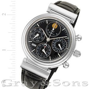 Gents IWC Da Vinci in stainless steel on leather strap. Auto w/ subseconds, date, day, month, moonphase, chronograph, and perpetual calendar.
