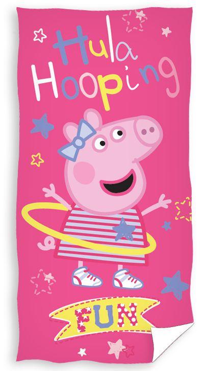 Różowe ręczniki dziecięce z świnką i hulahopem