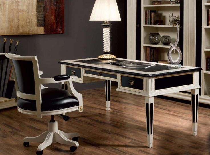 French Inspired Writing Desk Finished in Black and Cream