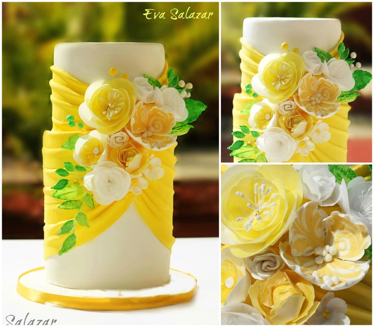 wafer paper flowers lemon yellow cake