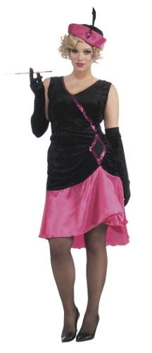 Plus Size Roaring 20's Penny Pink Flapper Costume Dress Adult Women Plus
