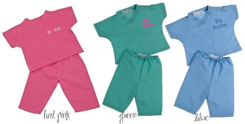 Personalized Monogrammed Infant Toddler Kid's Doctor Nurse Scrubs - Big Brother, Big Sister - Pink, Green, Blue on Etsy, $32.00