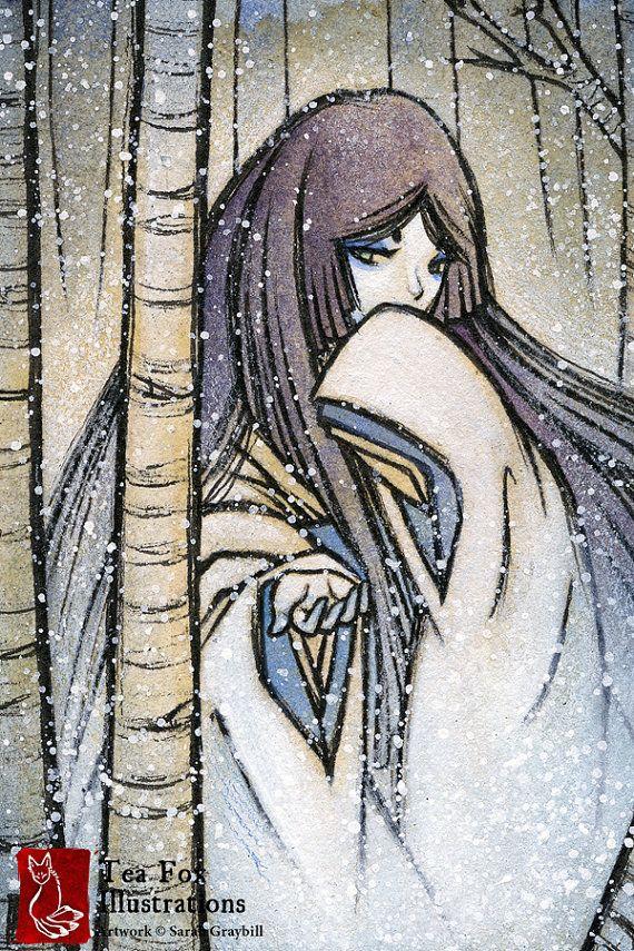 Yuki-onna / Japanese Style Art / Yokai Yurei Ghost Spirit / 4x6 Fine Art Print Matte Gloss